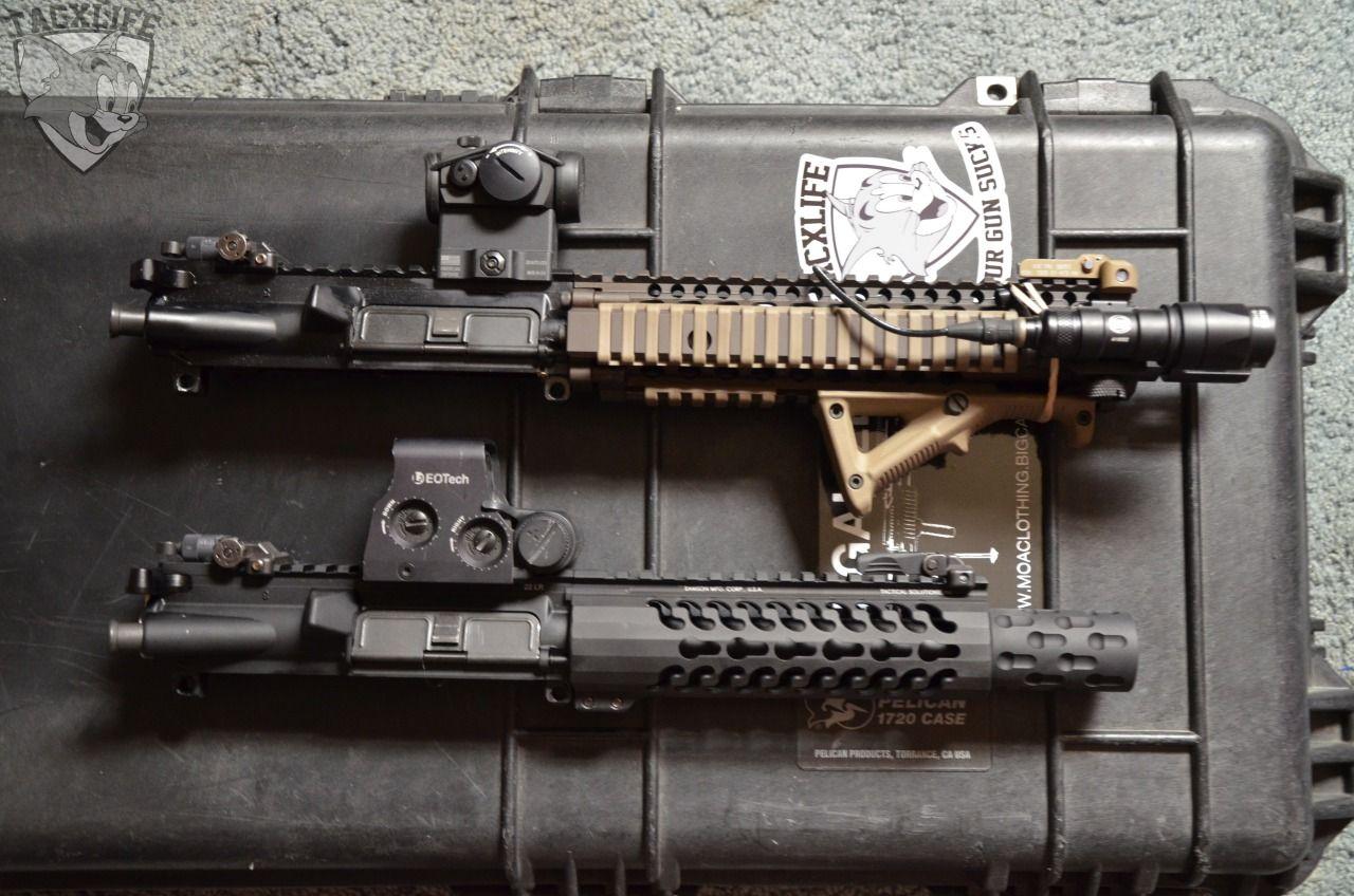 """tacxlife: """"TOP : Daniel Defense MK18 upper BOTTOM : Tactical Solutions kestrel upper """""""