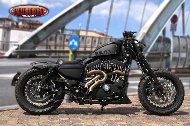 Xl883n Blackster Moto Design Customs Harley Bobber Harley Davidson Sportster 883 Harley Davidson Sportster 1200