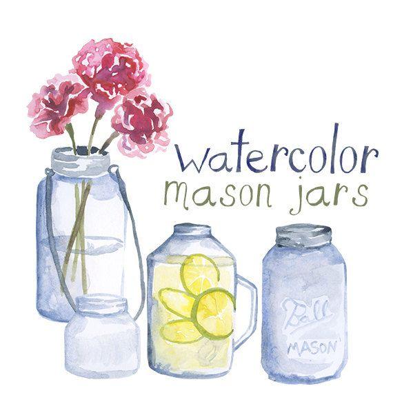 Custom Watercolor Mason Jar Clipart Wedding Invites Glass Jar Clip