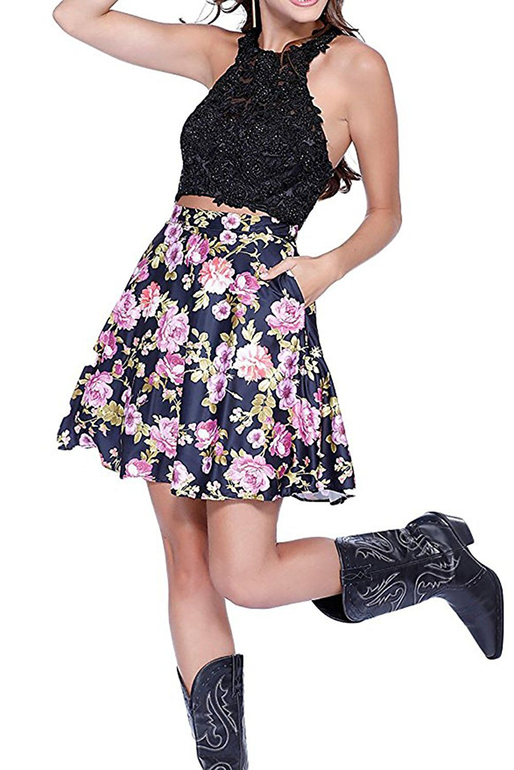 Homdor floral printed piece prom dress short beaded formal gown
