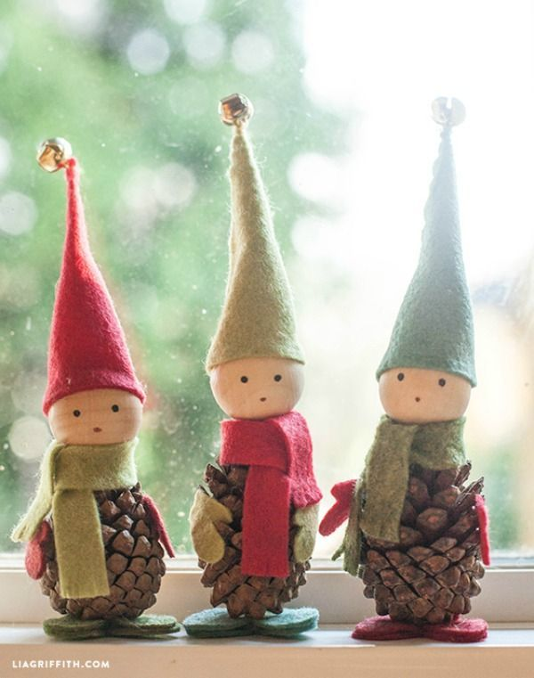 These darling Pine Cone Elves are easy to make and go perfectly with any Christmas  decorations