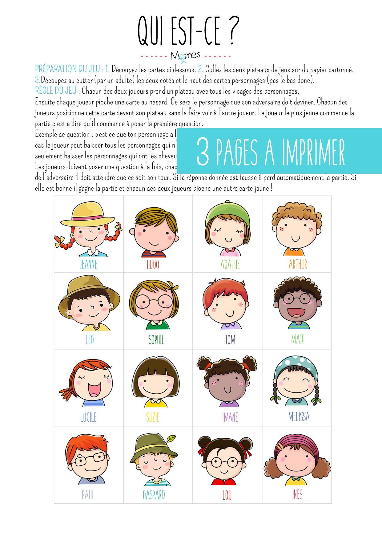 Qui Est-ce Jeu : est-ce, Imprimer, Est-ce, French, Classroom,, Teaching, French,, Activities