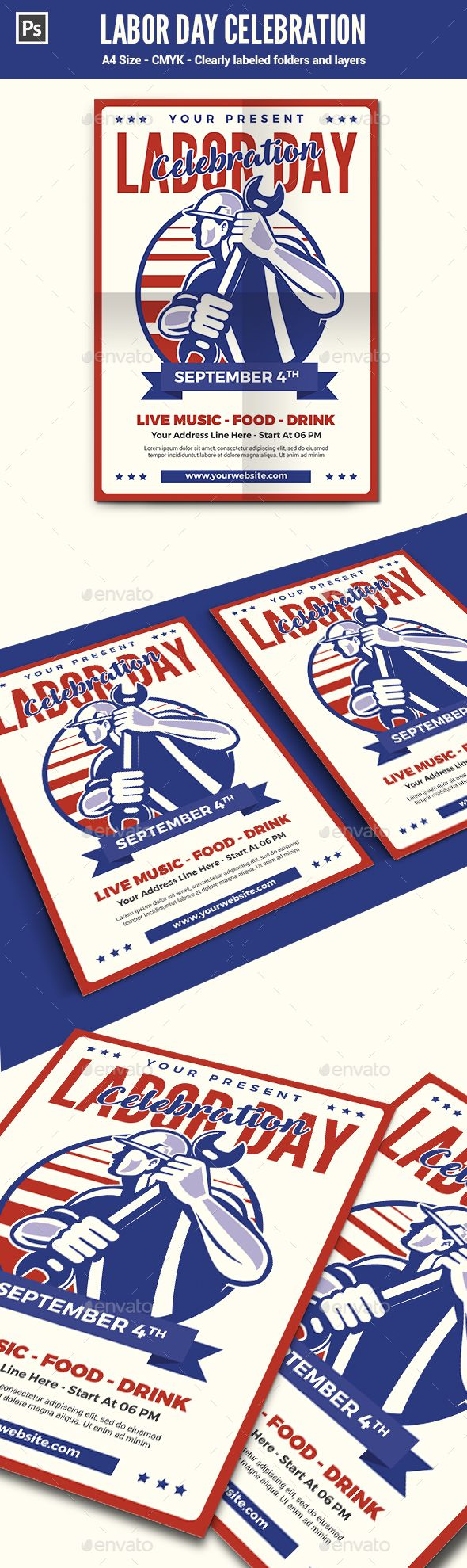 Labor Day Flyer / Poster Template | Labour, Flyer template and Fonts