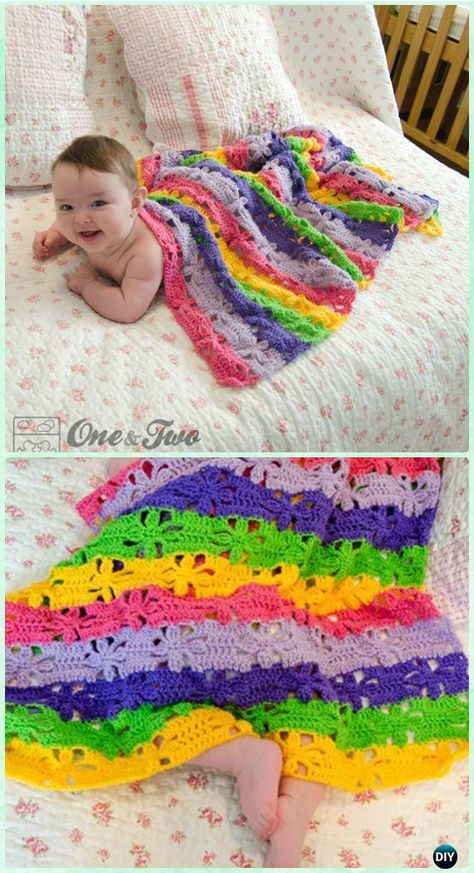 Crochet Spring Flower Blanket Free Pattern - Crochet Baby Easter Gifts Free Patterns
