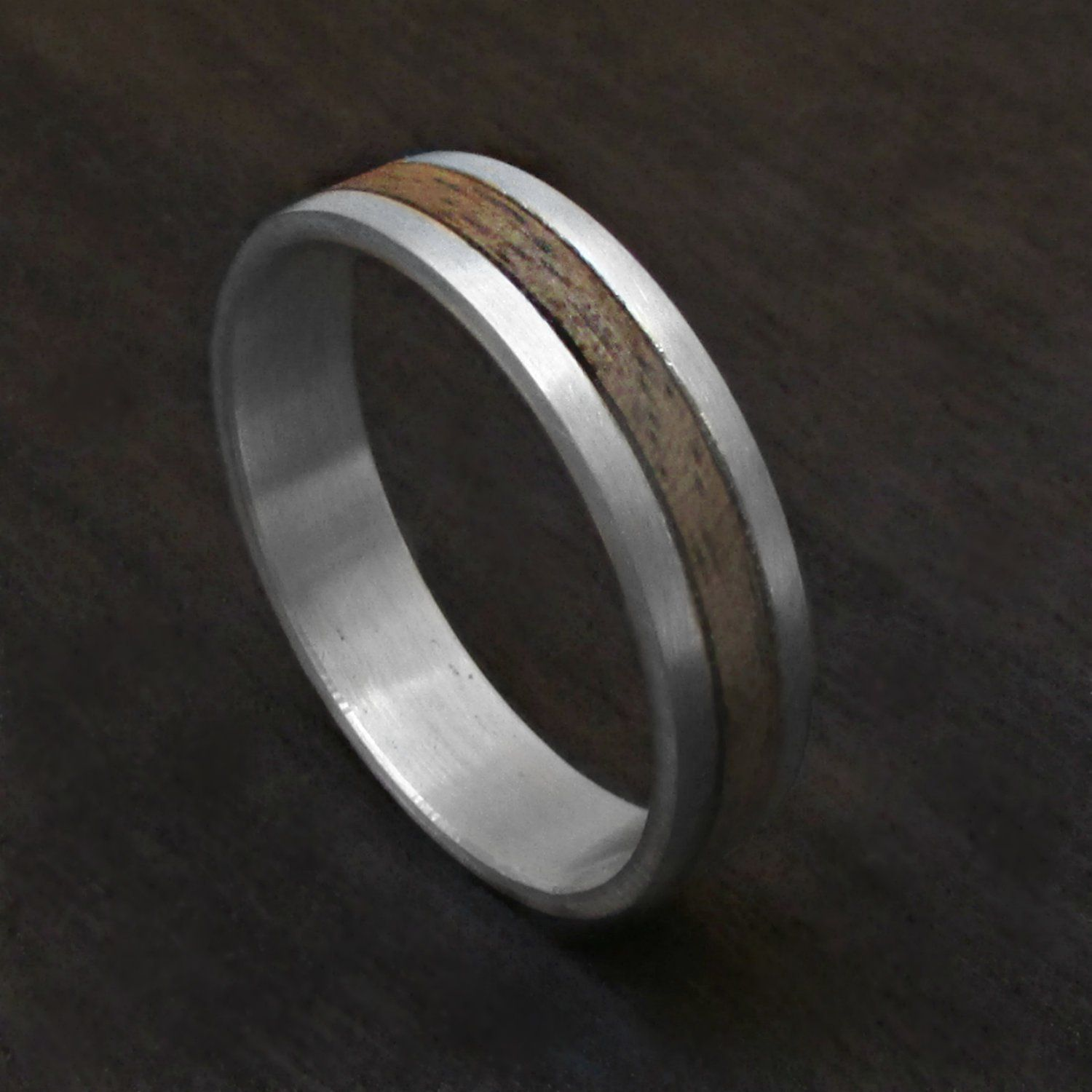 Sterling Silver And Wood Ring For Men Wooden Wedding Band For Him