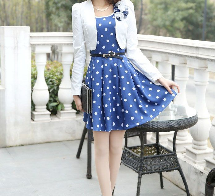 Casual Scoop Neck Polka Dot Waistband Twinset Plus Size Semi Formal Dress For Women (in Blue) (DressLily.com)