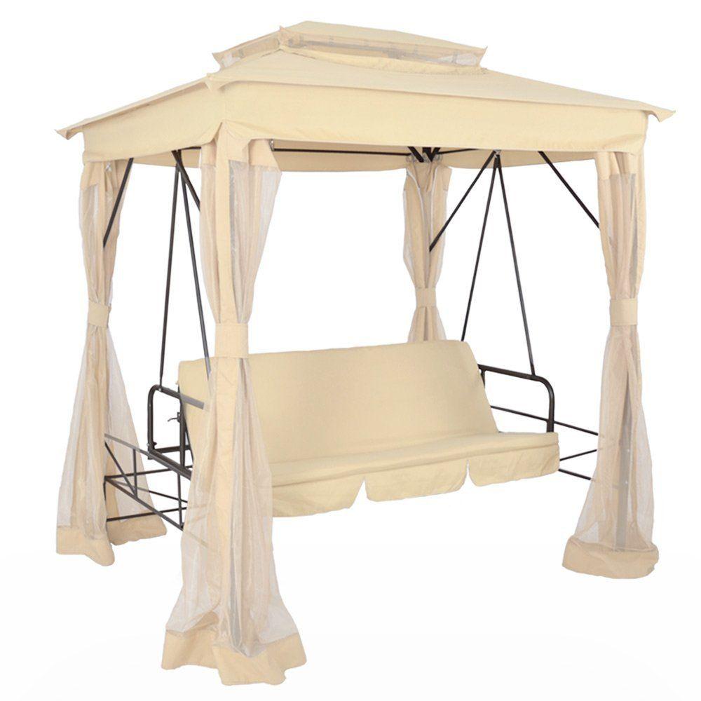 Gartenbanke Mit Dach Beige Bettfunktion Sitz