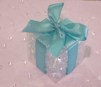 Clear Favor Bo Tiffany Blue Ribbon Wedding Box