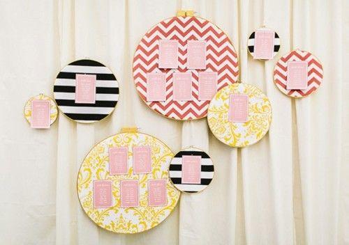 Bright And Easy DIY Emboidery Hoop Escort Card Display | Weddingomania