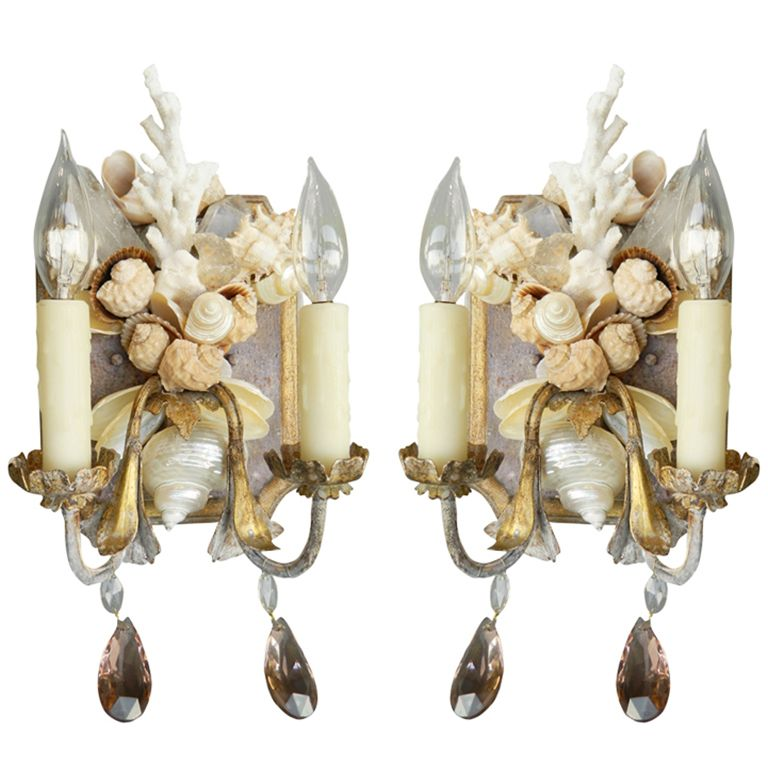 Pair Of Shell And Coral Painted Wall Sconces Shells And Sea Life
