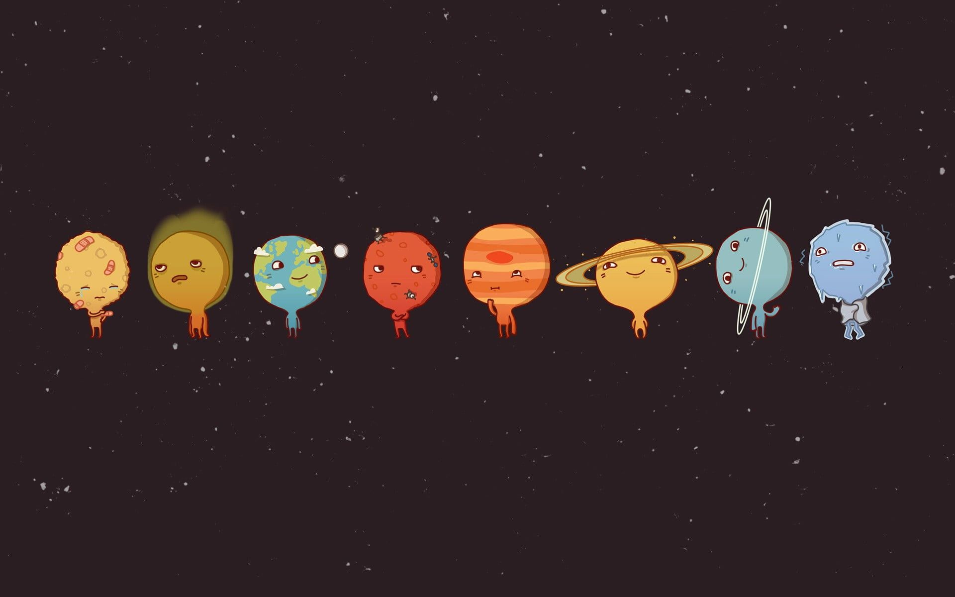 Solar System Cartoon Clip Art Universe Planet Emotion Minimalism Solar System Humor S Cute Wallpapers For Computer Desktop Wallpapers Tumblr Wallpaper Pc