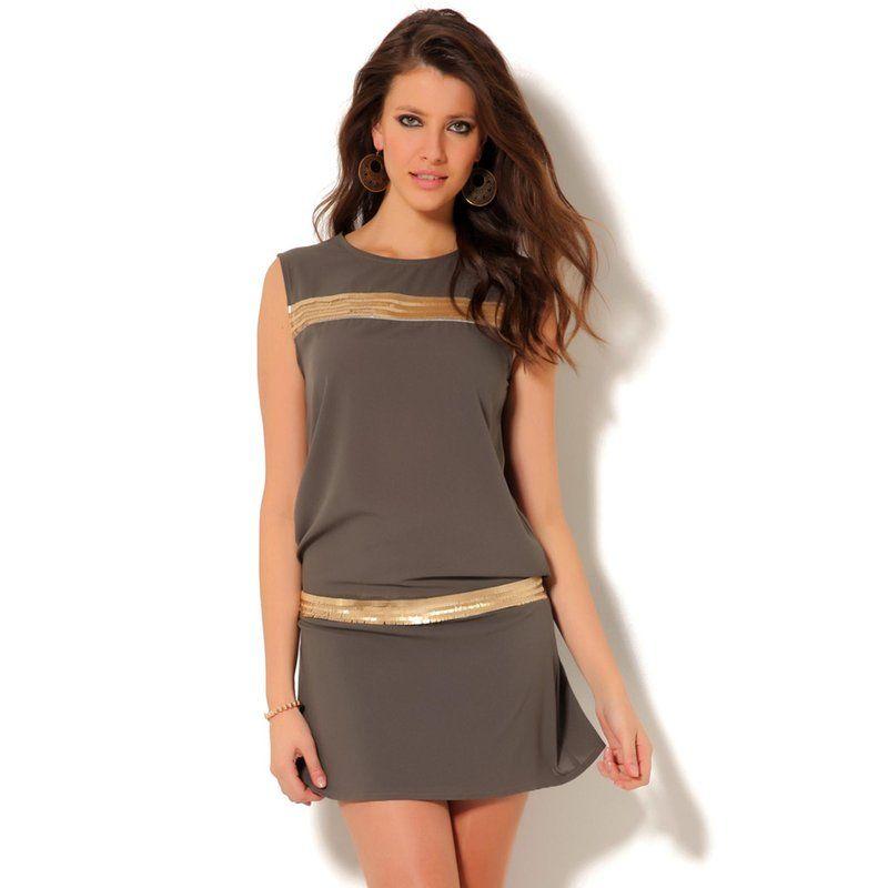 ab7340c874588e Robe courte sans manches dorée VENCA | Une mode en Or ! | Robe, Robe ...