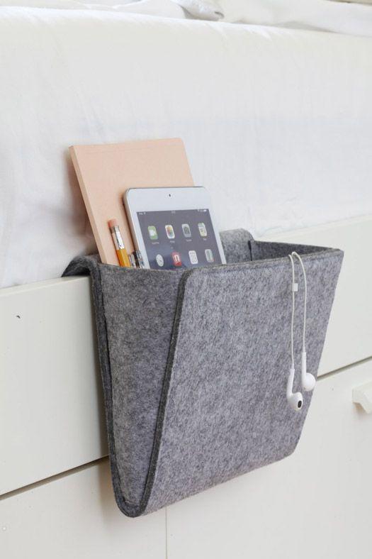 bett tasche aus filz sch nes wohnen filztasche n hen. Black Bedroom Furniture Sets. Home Design Ideas