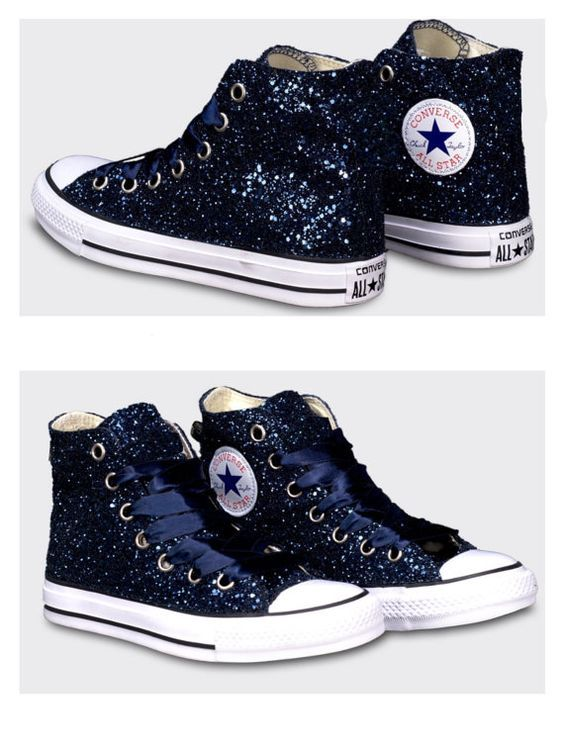 Womens Converse all star sparkly midnight navy blue black glitter sneakers  HIGH or WEDGE HEELS shoes Swarovski crystals bling wedding bride  837171f7c035