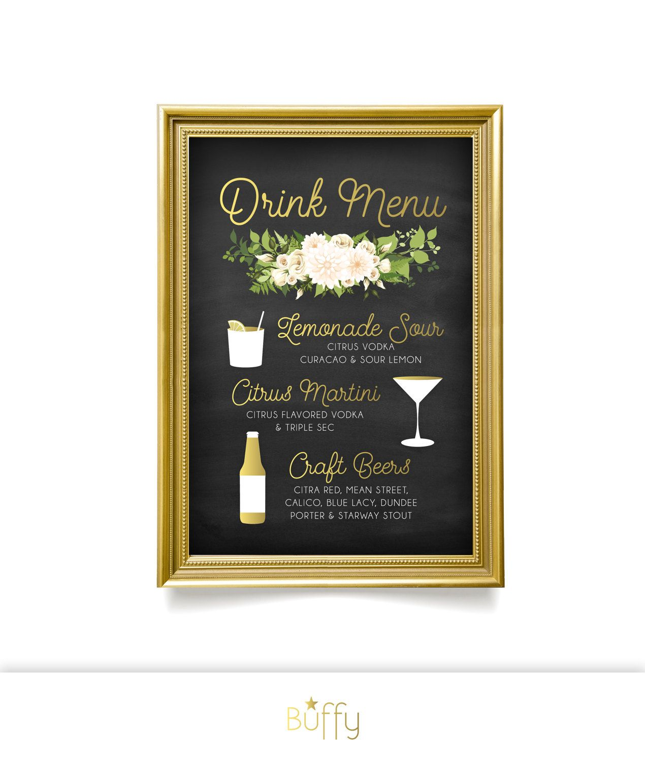 $35 on ETSY | The JAYLA . Drink Menu Sign . Fern Dahlia White Rose Garland & Gold Calligraphy Chalkboard . Martini Lemon Craft Beers Large Printed Wedding by BuffyWeddings on Etsy