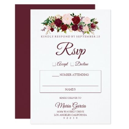 Burgundy marsala floral wedding rsvp card wedding invitations burgundy marsala floral wedding rsvp card wedding invitations cards custom invitation card design marriage party stopboris Gallery