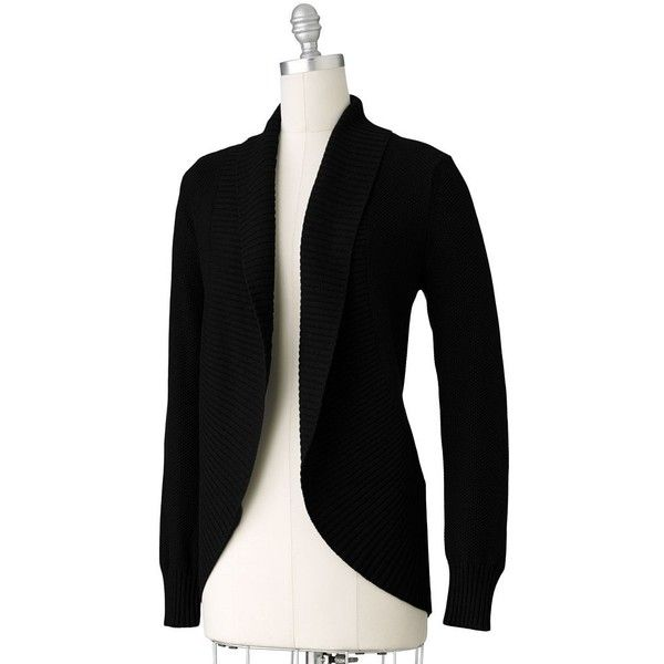 ELLE Textured Open-Front Cardigan ($22) ❤ liked on Polyvore featuring tops, cardigans, black cardigan, textured cardigan, textured top, open cardigan and black top