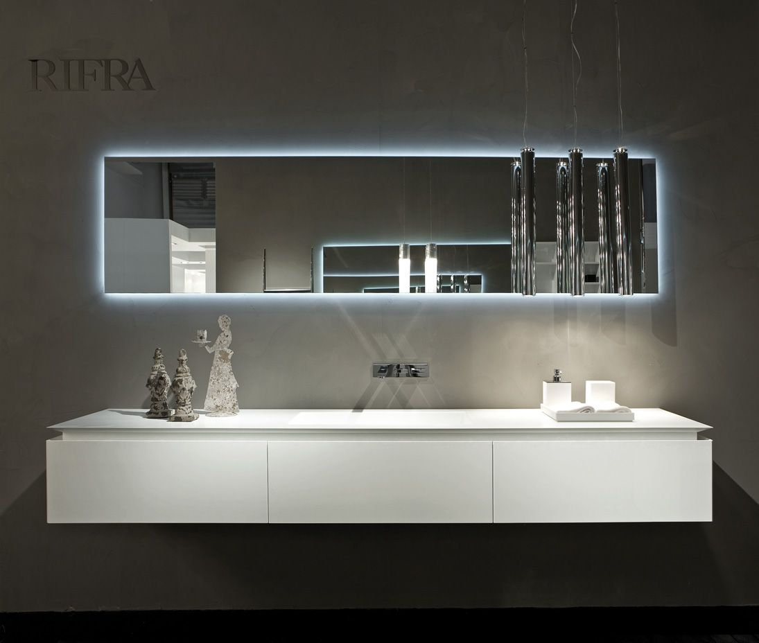 RIFRA VANITY – K FLY White lacquered vanity and mirror with LED back light