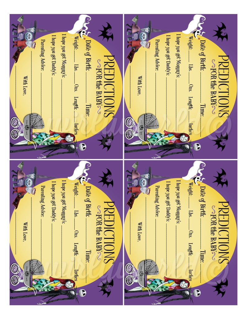 Nightmare Before Christmas Baby Shower Prediction Cards Etsy In 2020 Halloween Baby Shower Christmas Baby Shower Halloween Baby Shower Theme