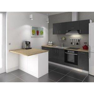 smart ilot de cuisine l 120x100 cm avec plan de travail inclus blanc et d cor bois ilot. Black Bedroom Furniture Sets. Home Design Ideas