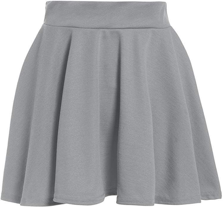 New Kids Girl Flippy Flared High Waistband Plain Stretch Short Mini Skater Skirt