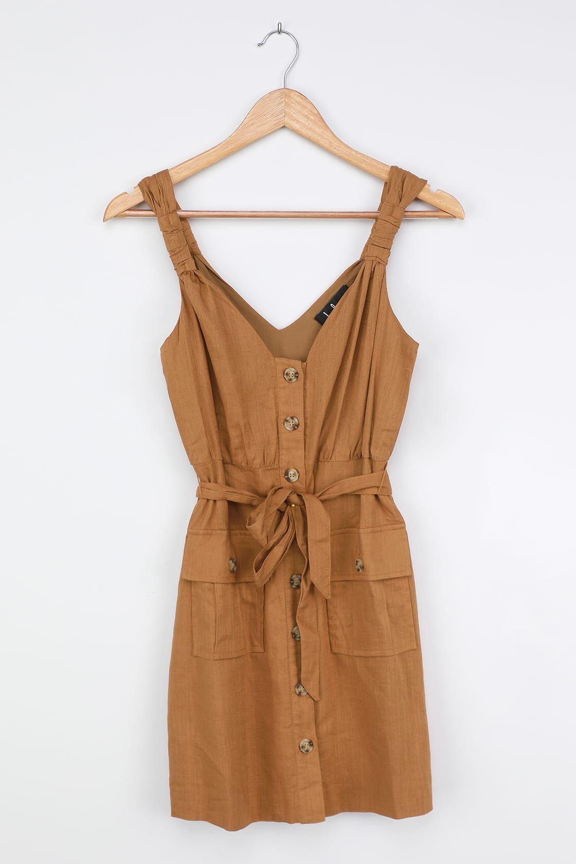 Meant For Greatness Tan Button Front Mini Dress Women Dress Online Mini Dress Fashion [ 1680 x 1120 Pixel ]