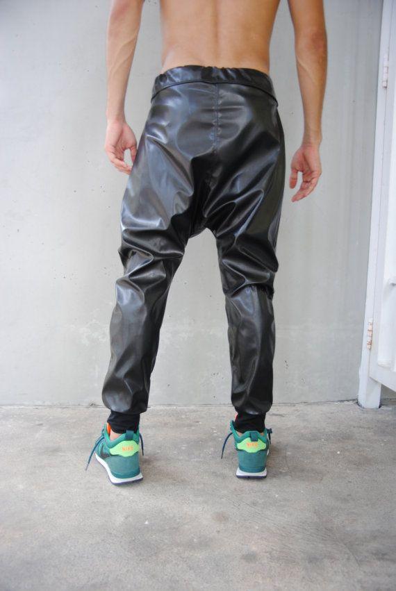 sale mens black leather drop crotch harem pants mens