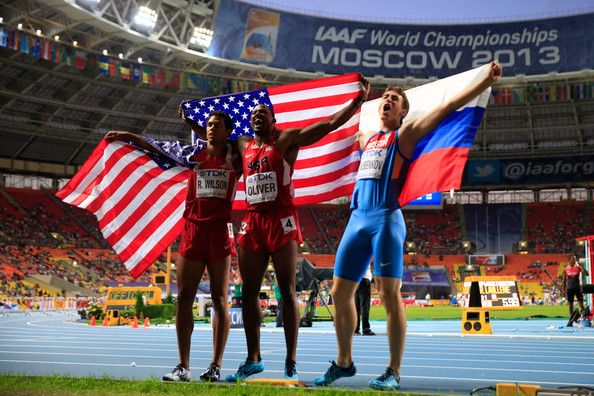 David Oliver (L-R) Silver Ryan Wilson of the United States, gold medalist David Oliver of the United States and Sergey Shubenkov of Russia  pose after the Men's 110 metres hurdles final during Day Three of the 14th IAAF World Athletics Championships Moscow 2013 at Luzhniki Stadium on August 12, 2013 in Moscow, Russia.