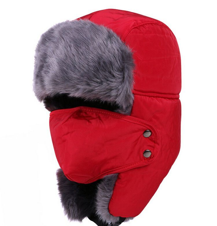 2016 For Russian man Earflap Winter black fur hats Outdoor Windproof Thick warm winter snow women cap Face Mask men cycling hat