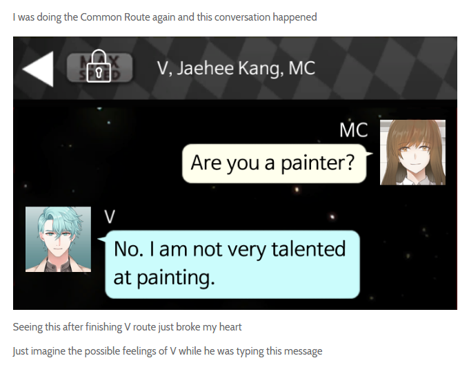How Is He Even Texting He S Basically Blind Mystic Messenger Funny Mystic Messenger V Mystic Messenger Memes