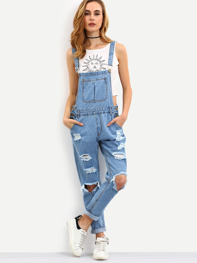 3a1df26962d0 Shop Blue Straps Ripped Denim Jumpsuit online. SheIn offers Blue Straps  Ripped Denim Jumpsuit   more to fit your fashionable needs.