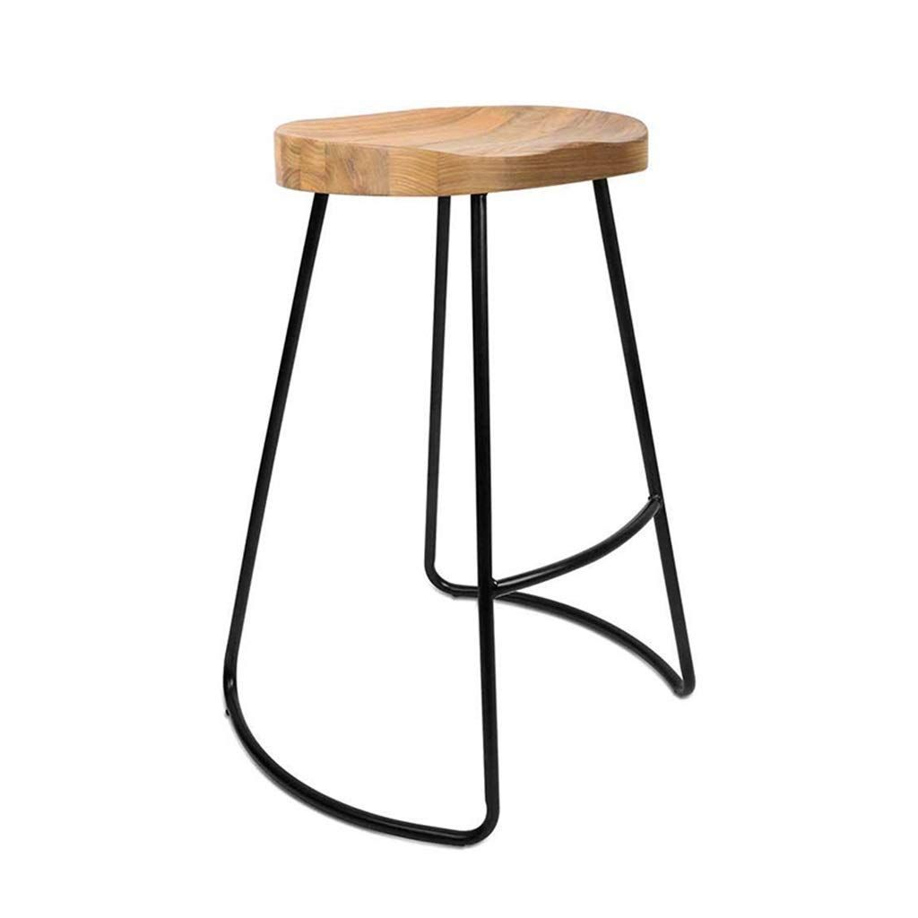 Chuan Han Bar Chair Black Simple Style Bar Stool Iron Bar Chair Fast Food Restaurant Solid Wood S Kitchen Bar Stools Wood Stools Kitchen Comfortable Bar Stools
