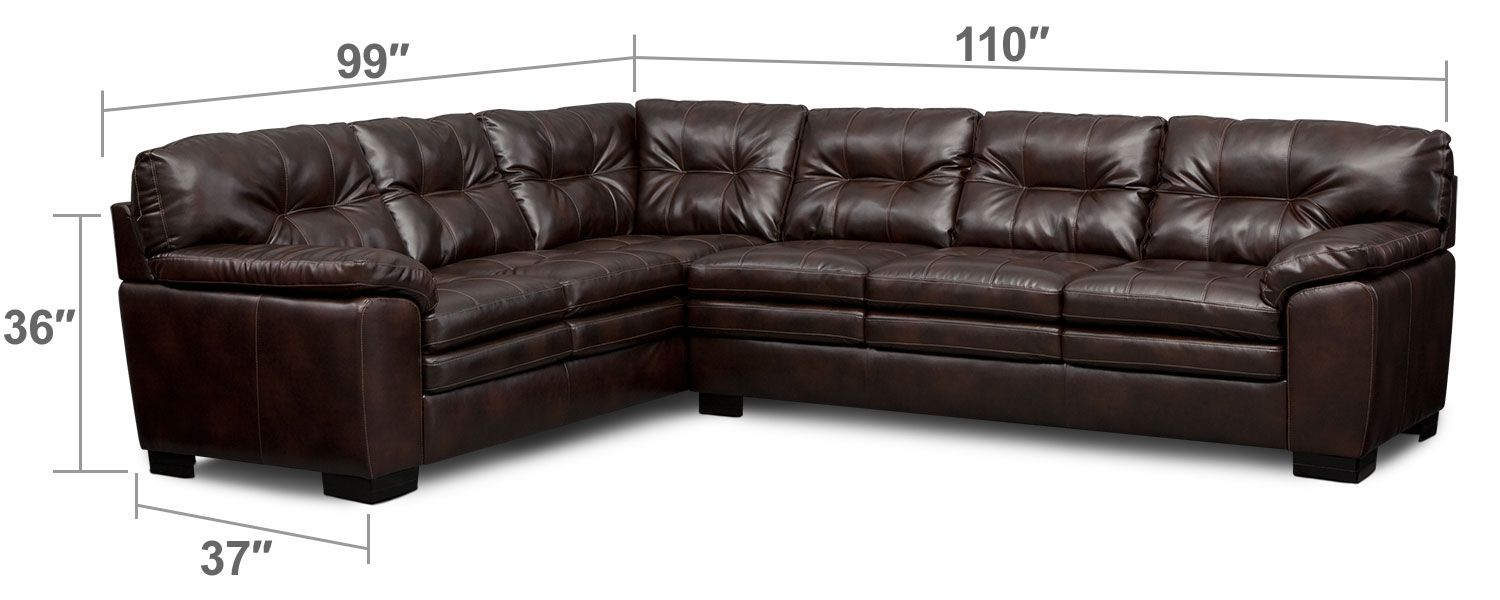 899 living room furniture magnum 2 piece sectional brown