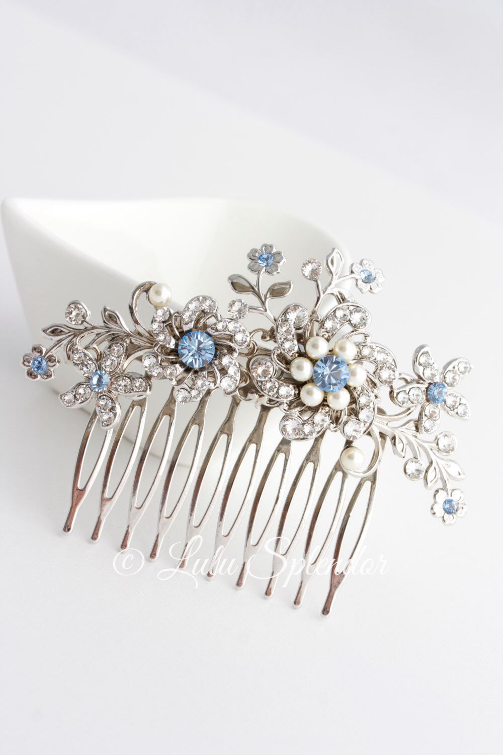 wedding hair comb light sapphire blue bridal hair accessories something blue flower wedding comb sabine choose