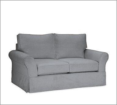 PB Comfort Roll Slipcovered Box-Edge Cushion Sofa in Metal Gray