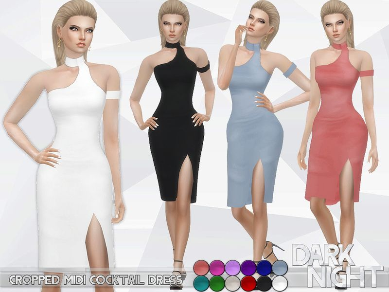 49f096c906 Cropped Midi Cocktail Dress Found in TSR Category  Sims 4 Female Formal