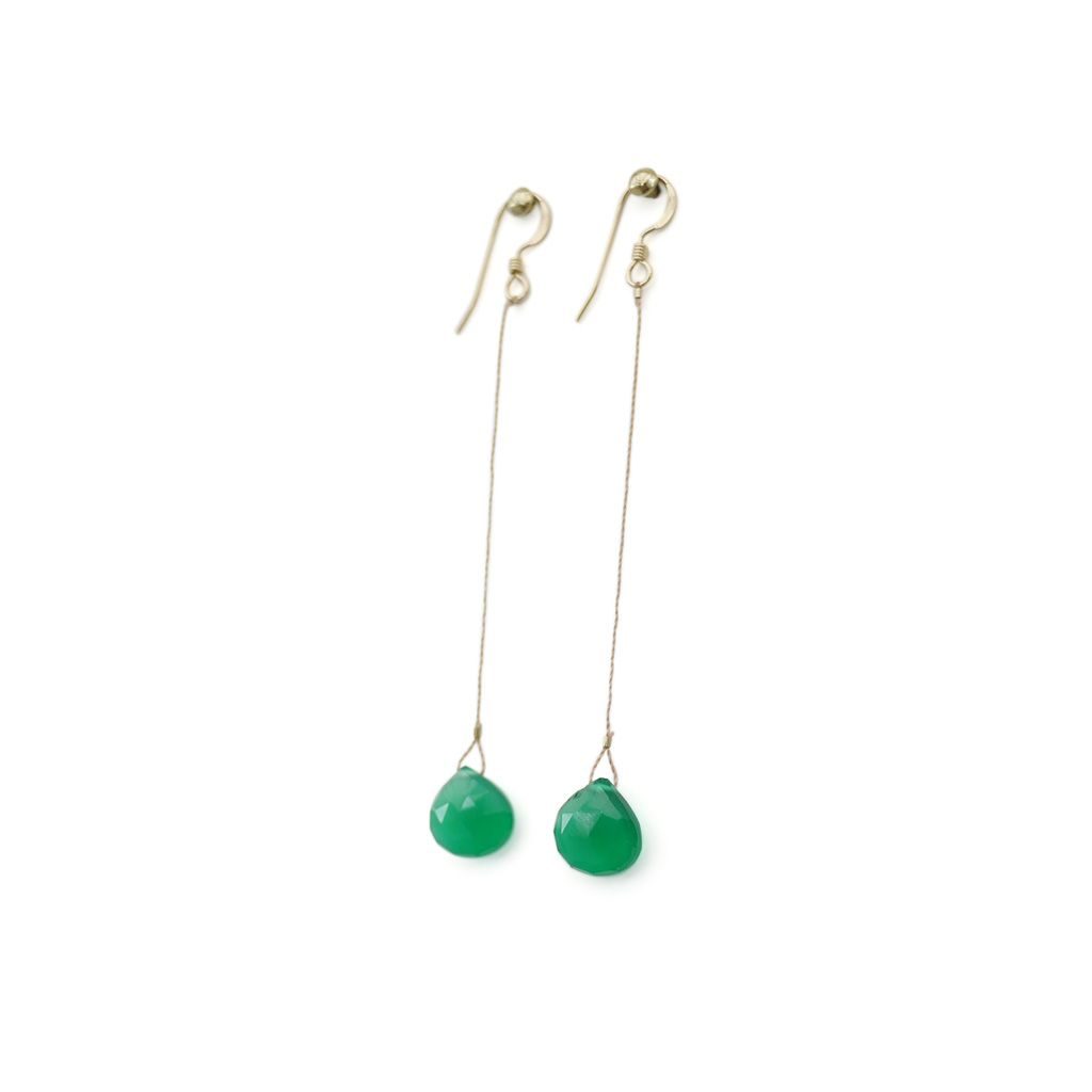 Rio Drop Earrings Emerald Green Chalcedony From Uk Jewellery Label Wander Life