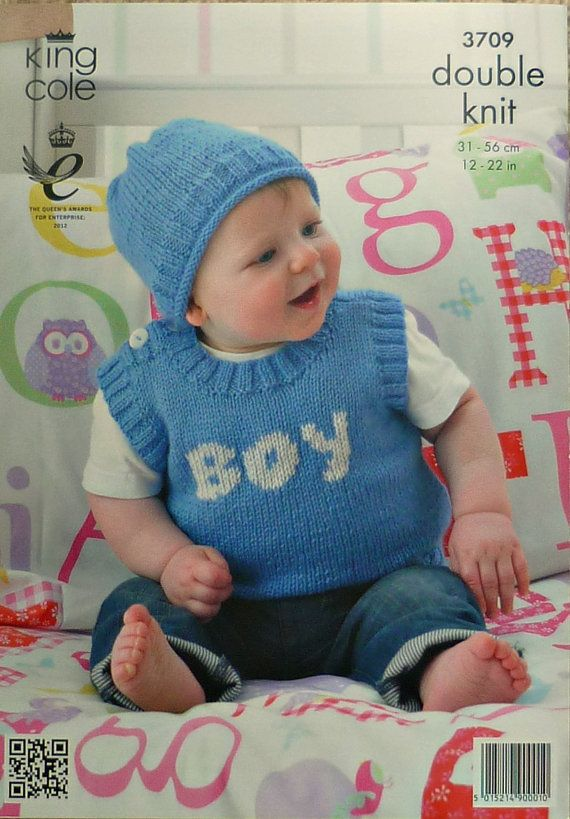 80834b515 Knitting pattern for Babies Sleeveless Jumper with Boy Design plus ...