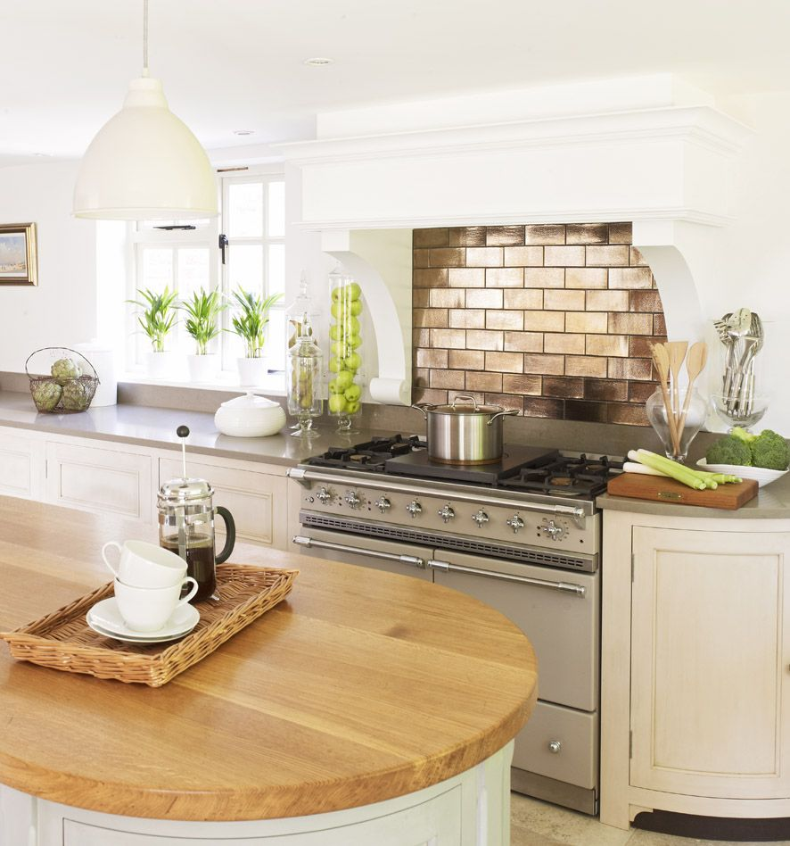 Galley Kitchen Ideas That Work For Rooms Of All Sizes: Range Cooker And Bronze Backsplash, Very Nice
