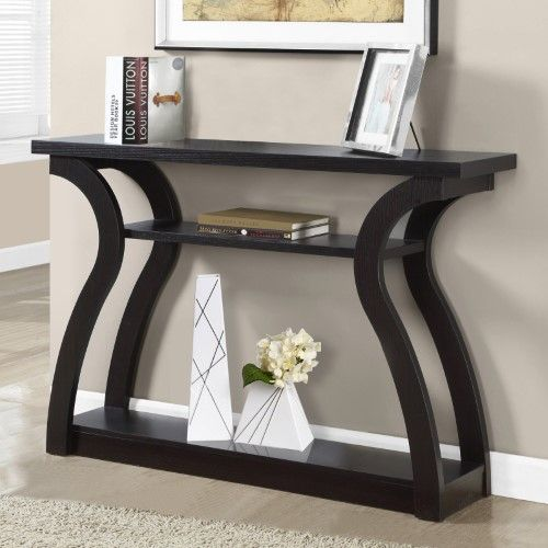 Monarch Specialties 3 Tiered Curved Console Table: Monarch International 3 Tiered Wood Console Table
