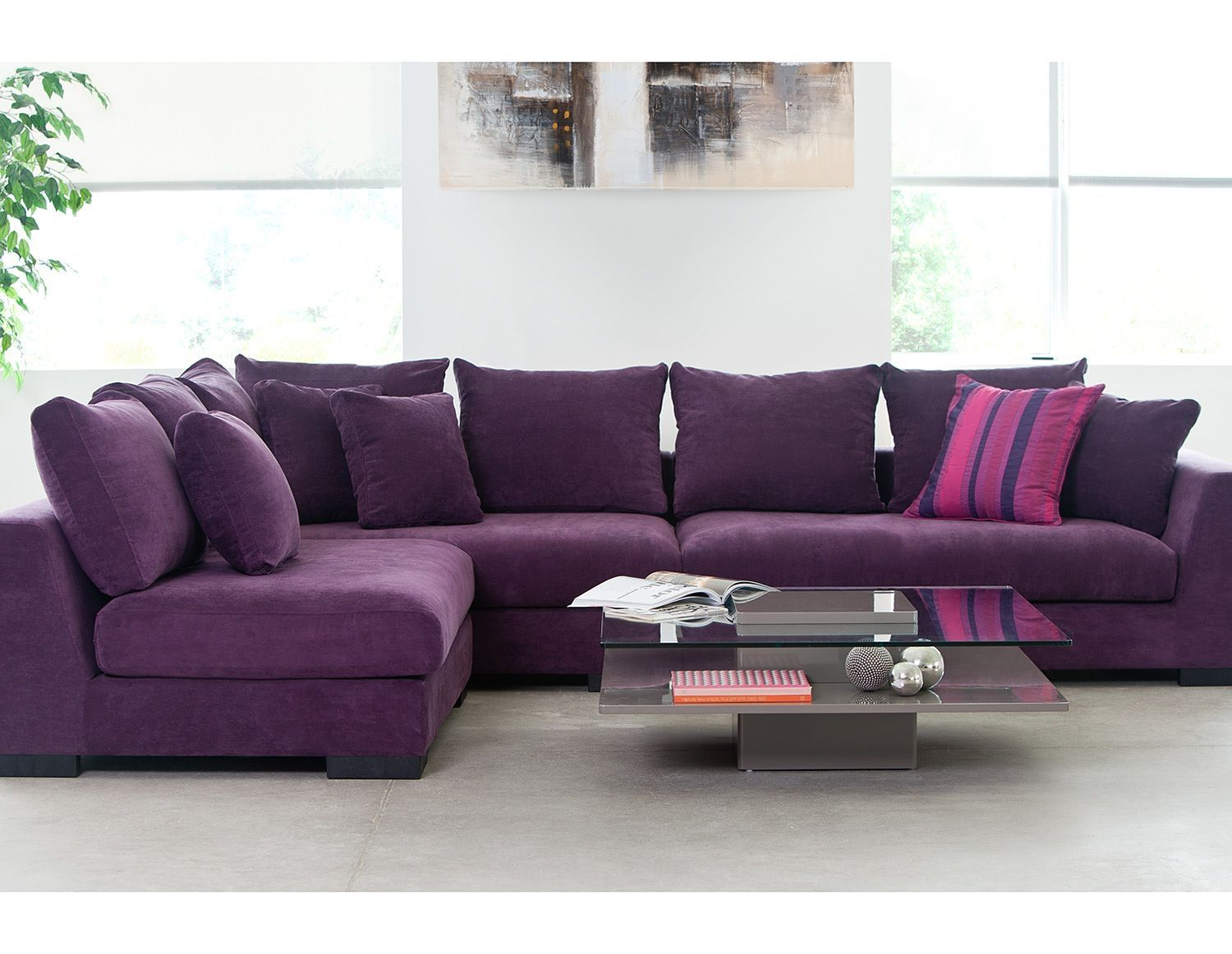 Attractive Eggplant Colored Sectional Sofa