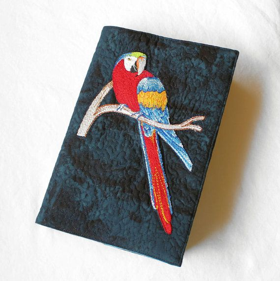Embroidered Parrot Paperback Book Cover on Cotton by QuiltSewCover,