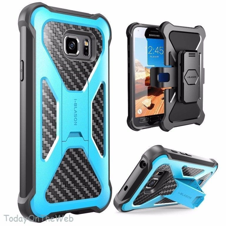 Samsung Galaxy S7 Active i-Blason Armorbox Blue Swivel Holster Belt Clip Case #iBlason