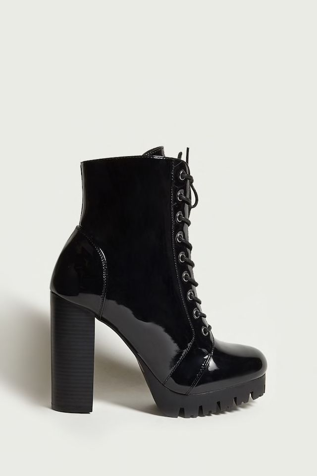 88ca4837a79 Faux Patent Platform Boots