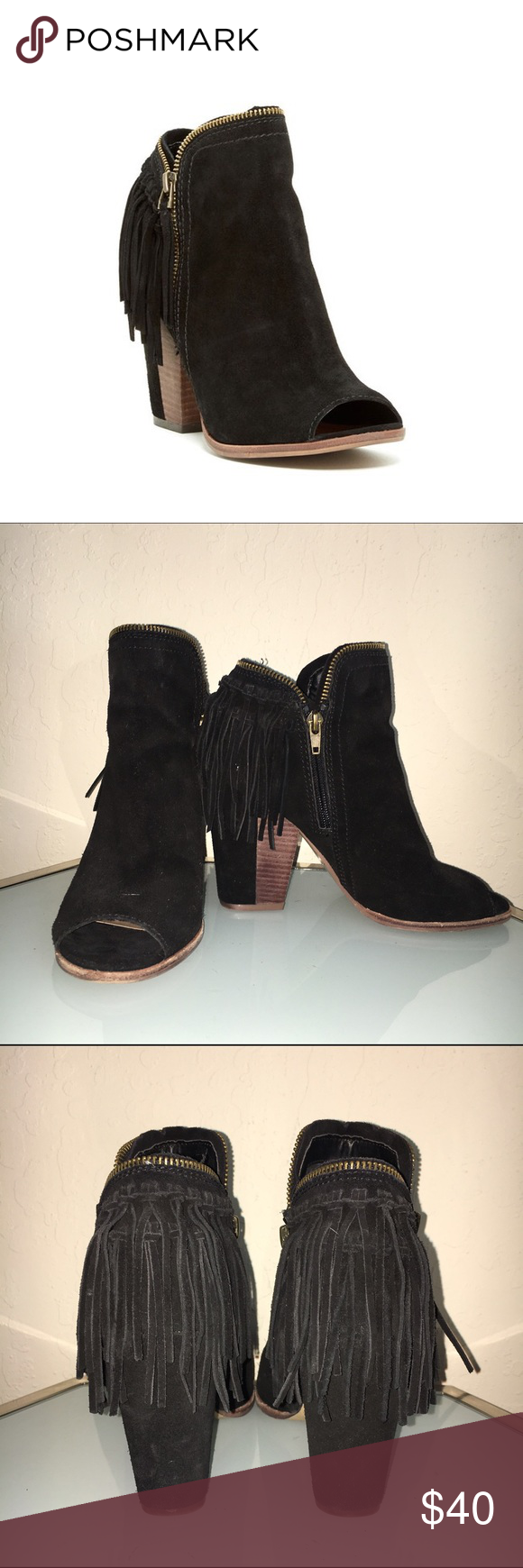"Dolce Vita ""Premiere"" open toe bootie - Size 7.5 Slightly worn (2-3 times) but in great condition.  Sizing: True to size. Details:  - Open toe - Zipper detail - Topstitching - Fringed back - Side zip closure - Lightly padded footbed - Partially covered chunky stacked heel - Approx. 4.5"" shaft height, 9"" opening circumference - Approx. 4"" heel  Materials: Suede upper, manmade sole Dolce Vita Shoes Ankle Boots & Booties"