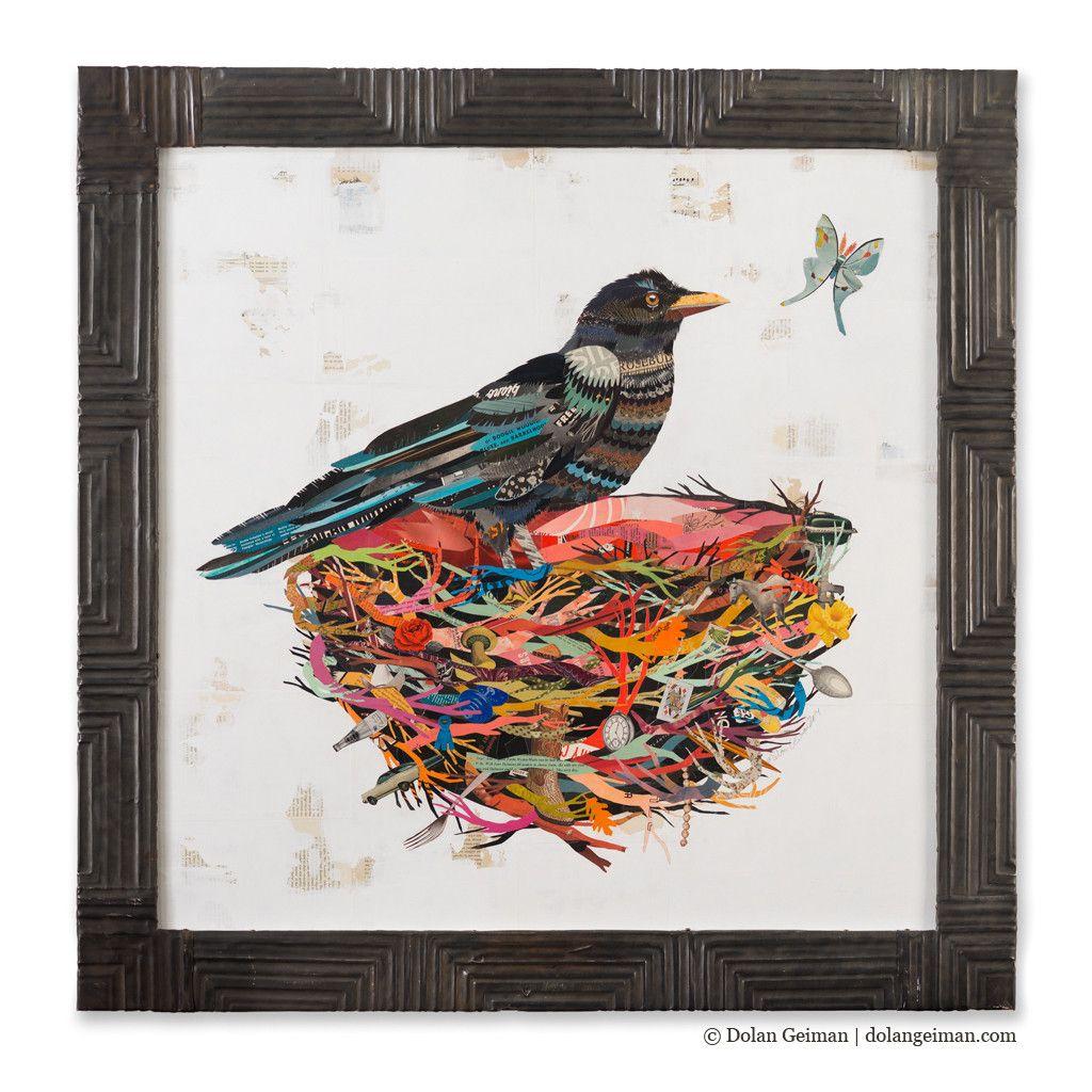 Crow In Nest With Moth Paper Collage Art | Dolan Geiman 42x42