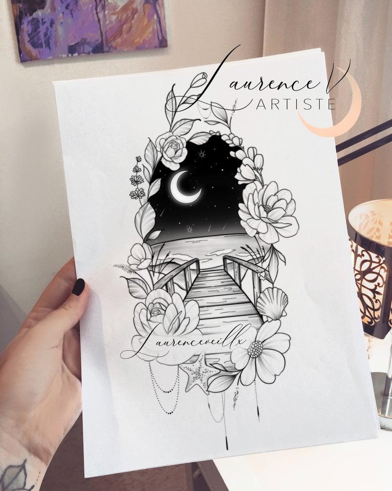 Printable Tattoo Design Instant Download Tattoo Design Etsy In 2020 Thigh Sleeve Tattoo Sky Tattoos Seashell Tattoos