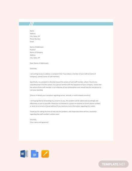 Free Complaint Letter Against Staff