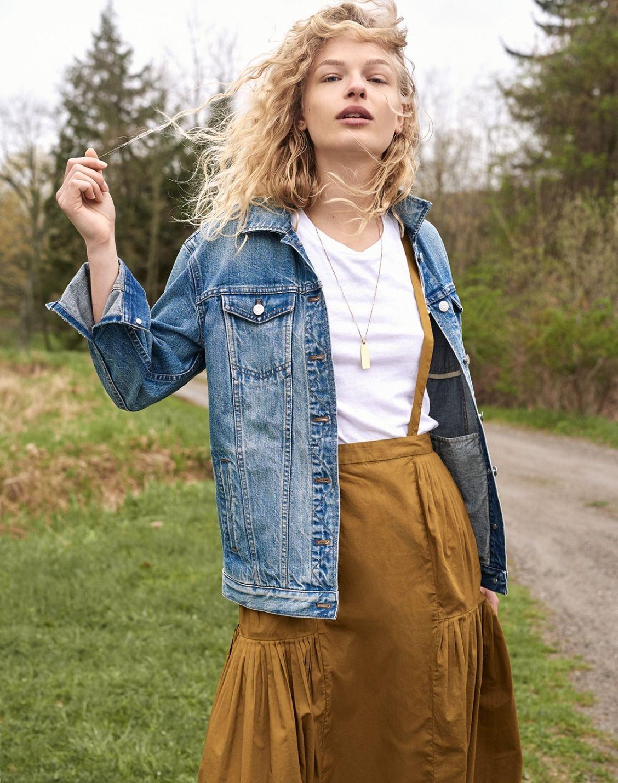ebcf5c3f1a madewell oversized jean jacket worn with the suspender midi skirt, whisper  cotton crewneck tee + treasure pendant necklace set.