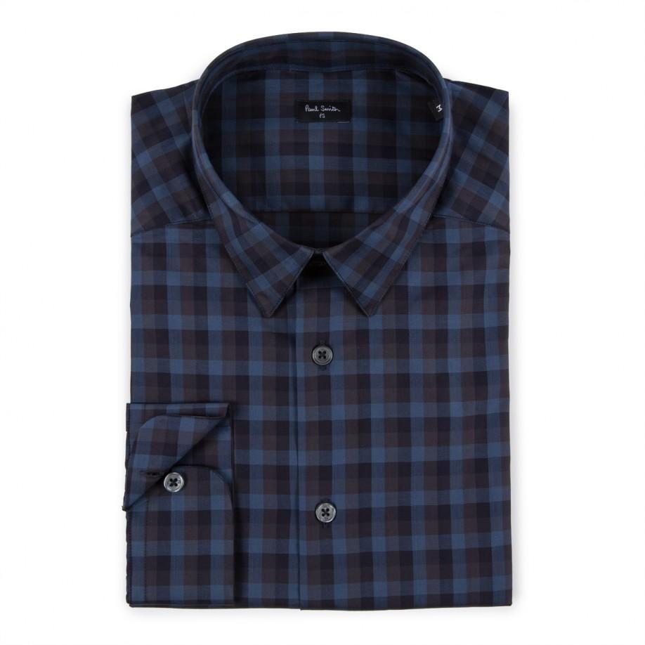 Paul Smith Men's Shirts | Navy Tonal Check Shirt